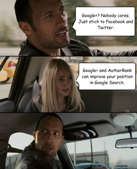 Google+? Nobody cares. Just stick to Facebook and Twitter. Google+ and AuthorRank can improve your position in Google Search.