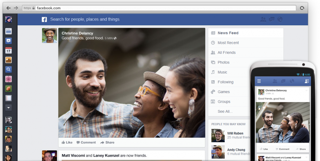 Facebook's new design for the News Feed.