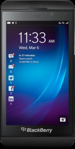 The BlackBerry Q10 running BlackBerry 10.