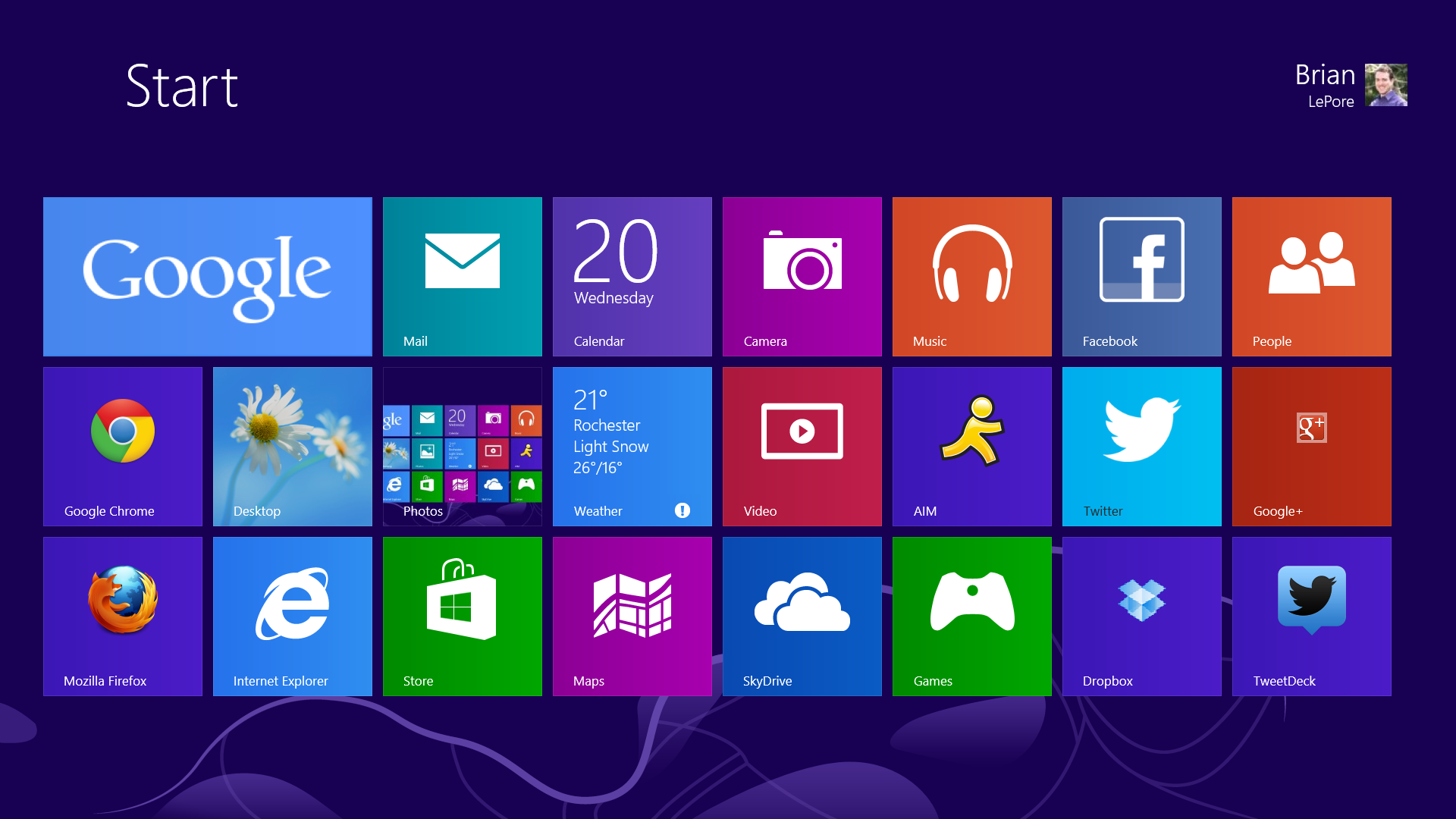 Windows 8 Start Screen.