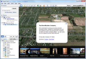 The BrandBuilder Company's KML mapping listing in Google Earth.