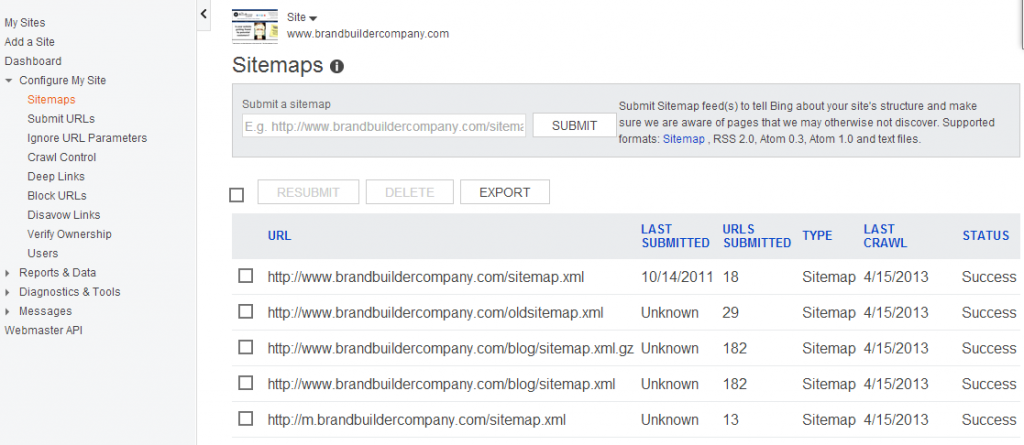 Search Engine Submission: Bing Webmaster Tools: XML Sitemaps