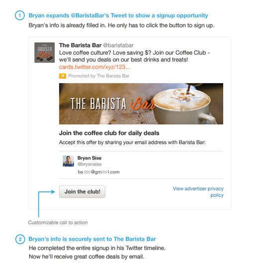Twitter Lead Generation Card example