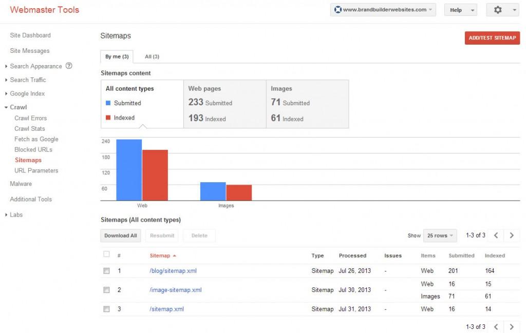 Google XML Web and Image Sitemaps for Brand Builder Websites.