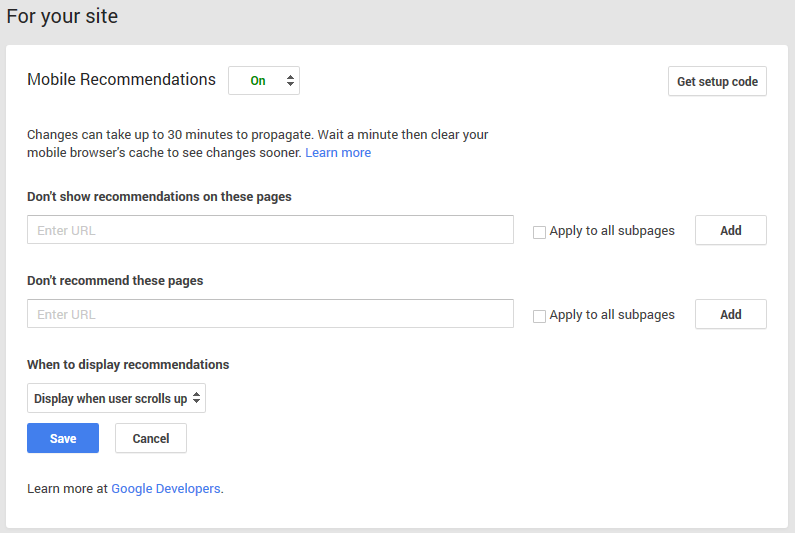 Google+ Mobile Recommendations under For Your Site.