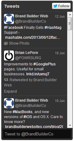 Example of the new Twitter widget.