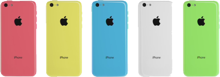 The iPhone 5C colors as seen in the iPhone event 2013.