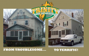 Before and after graphic of a property renovated for Trinity Home Renovations. This was one of the graphics created by Brand Builder Websites for promoting them on social networks.