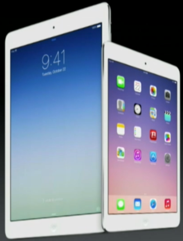 The new iPads introduced at the iPad event 2013.