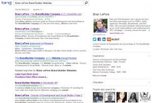 Screenshot of Brian LePore's Klout-verified Snapshot on Bing.