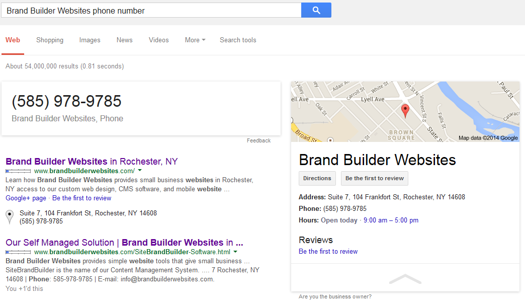 Business Info: Brand Builder Websites' Phone Number in Google Search Results.