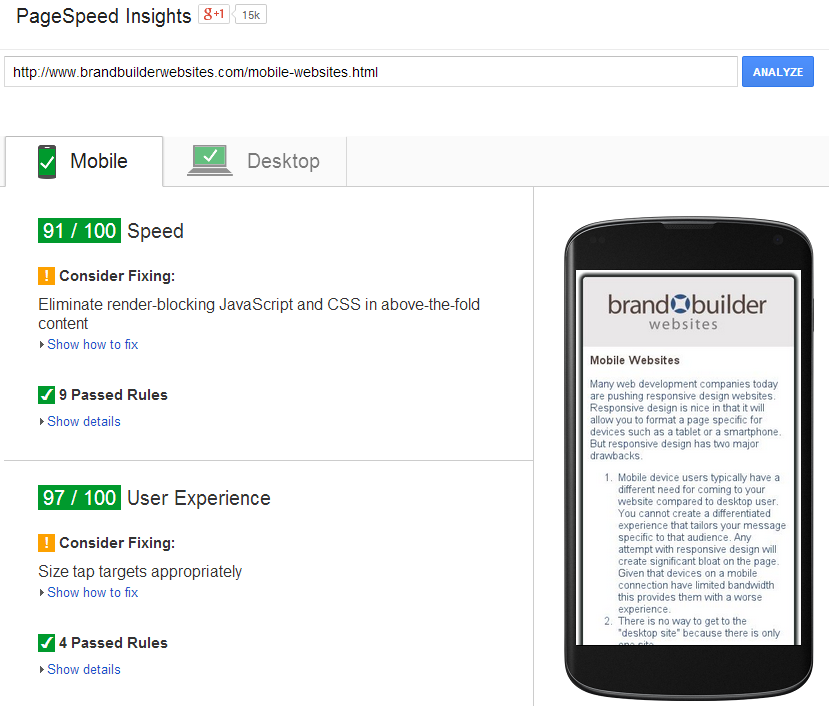 Review Google's PageSpeed Insights for tips on improving your mobile site and thus mobile search.