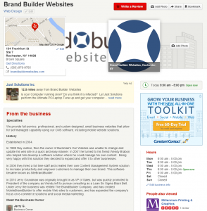 Brand Builder Websites' profile on Local Reviews site Yelp.