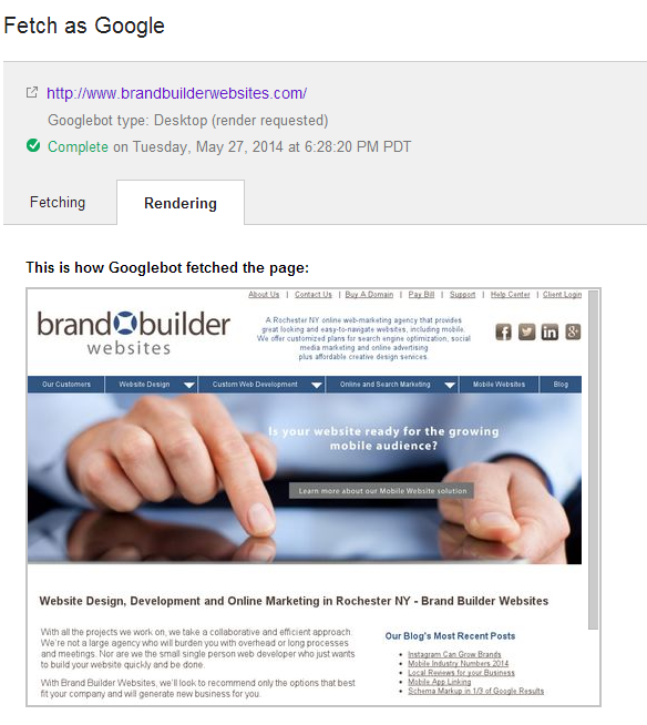 How Google views Brand Builder Websites.
