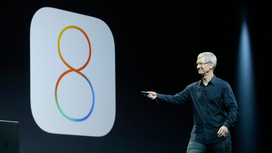 Tim Cook introducing iOS 8 at WWDC 2014.