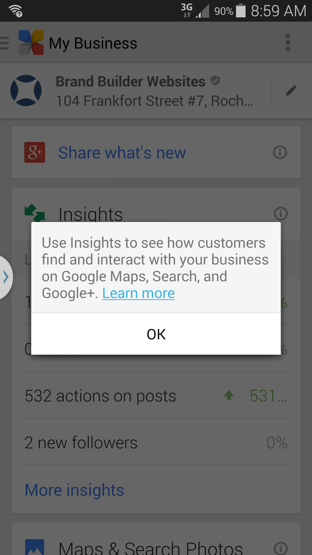 Screenshot from the Google My Business Android app.