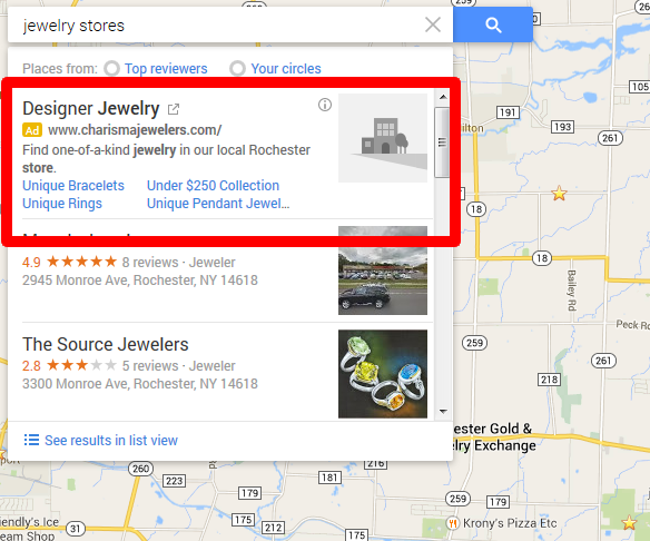 Google Maps Ads example showing jewelry stores.