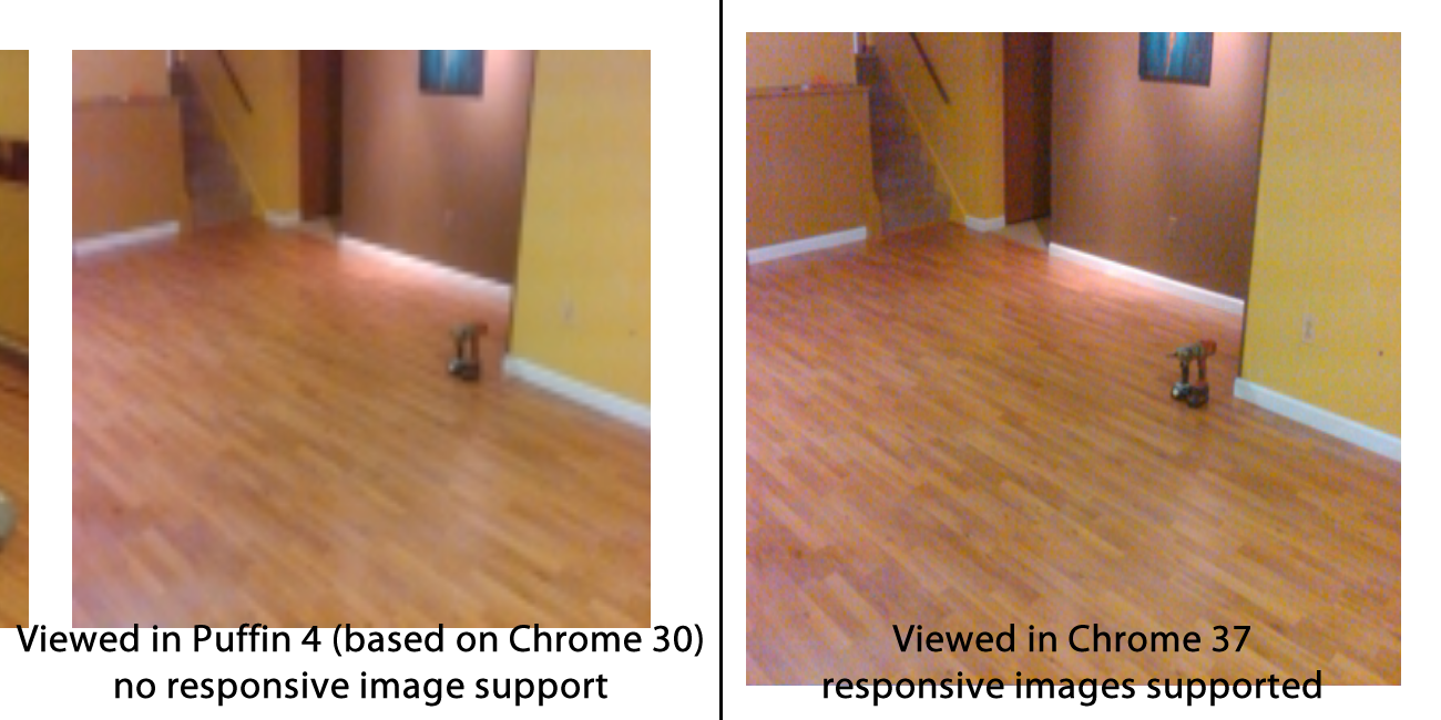 Comparison of browsers with and without support for responsive images.