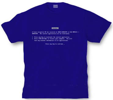 Windows 95 blue screen of death t-shirt